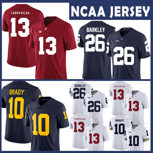 separation shoes 8574a 7e845 2019 Alabama Crimson Tide College NCAA Jersey 13 Tua Tagovailoa Michigan  Wolverines Tom Brady Penn State Nittany Lions 26 Saquon Barkley Football  From ...