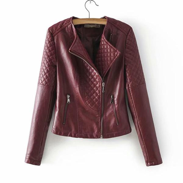 2019 outono novas mulheres diamante forma magro emagrecimento PU jaqueta de couro da motocicleta jaqueta curta feminino rosa preto vinho tinto
