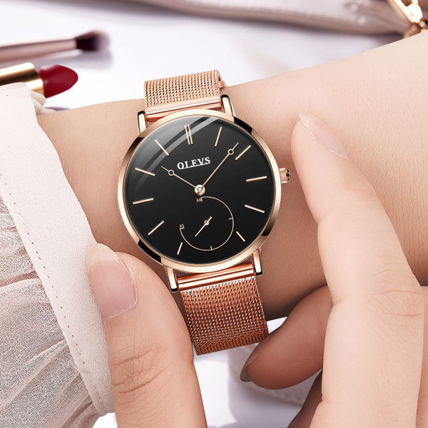 Reloj Mujer Fashion Wrist Quartz Watch Women Black Casual Ladies Dress Watches Rose Gold Mesh Stainless Steel Female Clock Uhr Y19062402