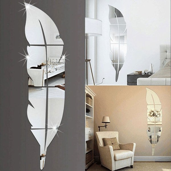 3D Espelho de Penas Adesivo de Parede Decalque Mural Art Home Decoration DIY 73 * 18 cm