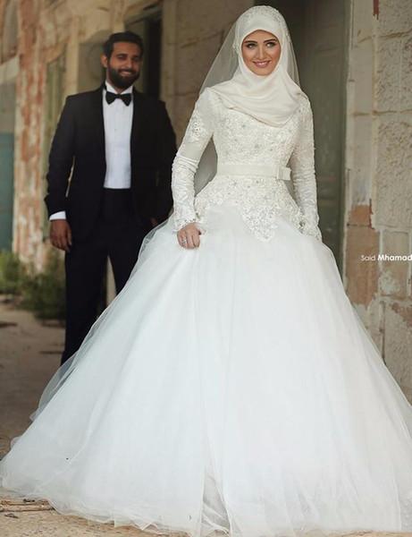 Modest Autum Winter Arabic Muslim Wedding Dresses For Bride New 2019 Applique Lace High Neck Long Sleeves Floor Length Wedding Dress Gowns