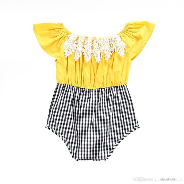 2018 Nouveau Bébé Filles Barboteuses Floral Dentelle Patchwork À Carreaux Romper Infant Enfants Vêtements Filles Combinaison Coton Sans Manches Tenues Sunsuit 0-24 M
