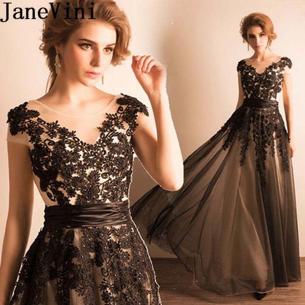 JaneVini Lebanon Black Lace Evening Dresses Long Beaded Appliques Formal Gowns Arabic Tulle Women Party Dinner Gowns Avond Jurk 2019