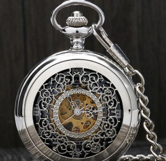 New fashion hollow window flower manual mechanical pocket watch Roman literal men's gift table explosion hot sale