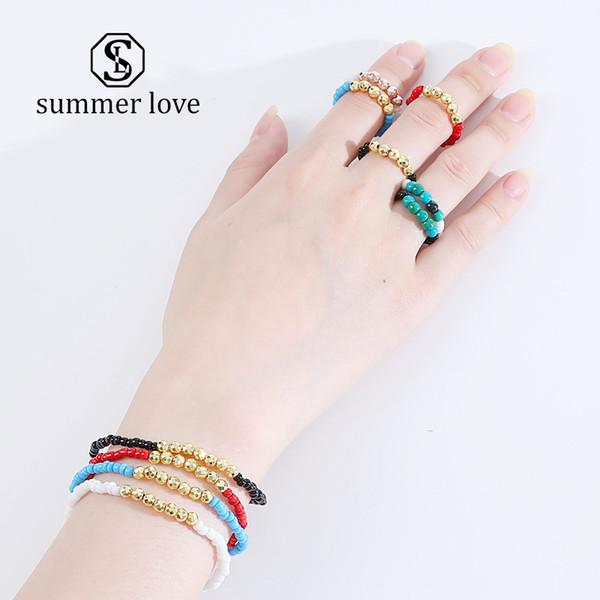 Set di braccialetti fatti a mano in pietra naturale intrecciata Set di anelli per le donne Bohemien Misura regolabile Cavità perline Bracciale Regalo etnico gioielli