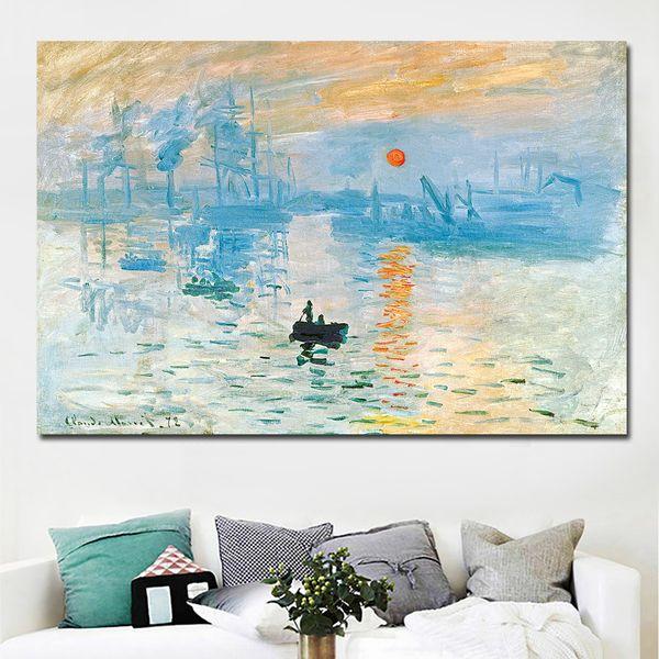 1 Piece HD Print Claude Monet Impression Sunrise Landscape Oil Painting on Canvas Art Wall Picture Canvas Poster No Frame
