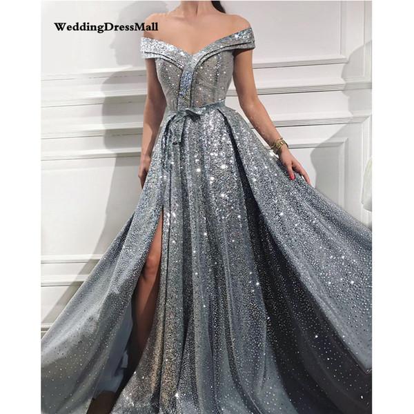 Design Avondjurken.Long Elegant Grey Glitter Saudi Arabic Women Evening Dresses 2019