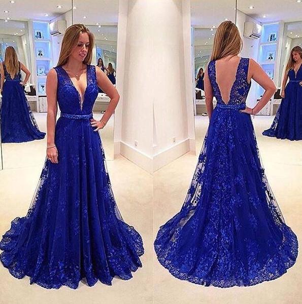 Robes de Soiree Royal Blue Lace Prom Dresses Long Cheap V Neckline Belt Evening Gowns Cocktail Party Dress Formal Gown