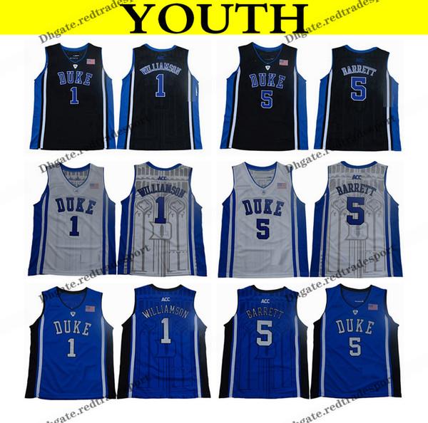 2018 jeunes Duke Blue Devils College Basket Jersey Jersey Garçons 1 Zion Williamson 5 RJ Barrett Noir Enfants Chemises De Basket-ball
