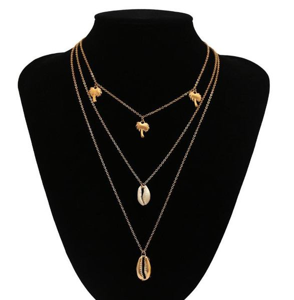 DHL Bohemian Multilayer Kokosnussbaum Shell Choker Halskette Erklärung Legierung Shell Natural Seashell Anhänger Halskette für Frauen
