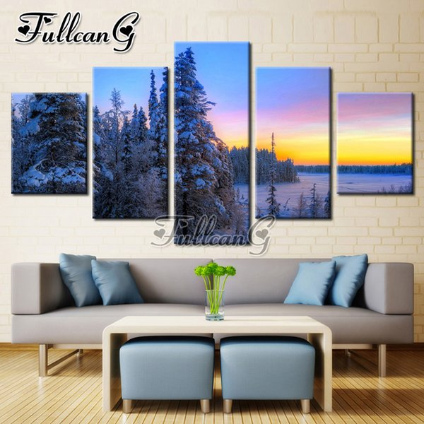 "wholesale 5pcs diy diamond painting ""snow tree landscape"" full square/round drill mosaic 5d embroidery multi-picture set FC319"