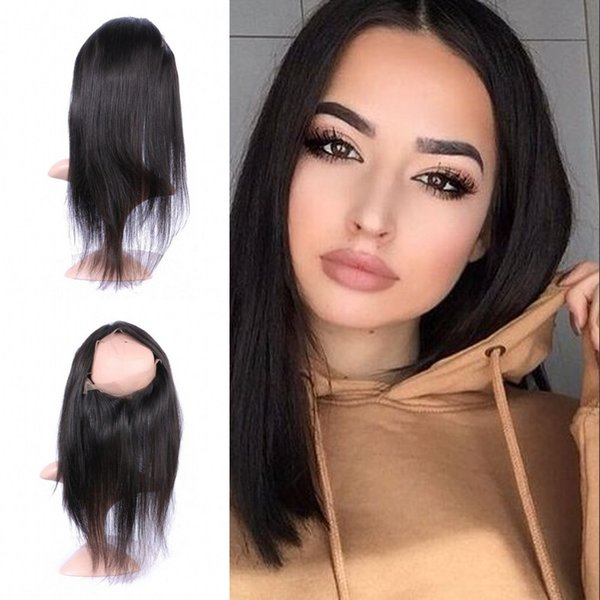 Free Shipping 360 Lace Frontal Closure With Baby Hair Free Middle Part Straight Lace Closure Ear To Ear Non Processed G-EASY