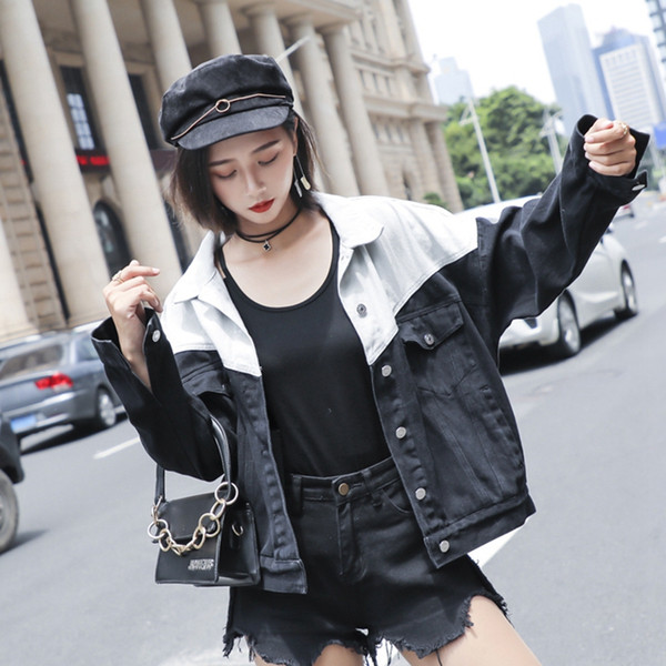 SexeMara fashion The New Loose Washed Contrast color splice Shoulder strap Wear both denim jacket Free shipping