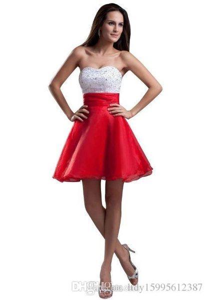 새로운 A 라인 Organza 화이트 Sequined Bodice 지퍼 뒤로 빨간 치마 짧은 미니 홈 커밍 가운 뜨거운 판매 수제 칵테일 홈 커밍 드레스