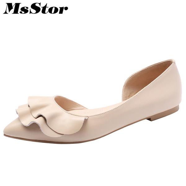 MSStor puntiagudo tacón bajo mujeres bombas Moda Ruffles dulce talón cuadrado zapatos de mujer Zapatos de mujer baja baja bombas zapatos