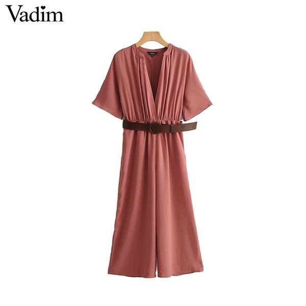 Vadim Women Elegant Solid V Neck Jumpsuits Sashes Half Sleeve Elastic Waist Stylish Female Casual Summer Chic Playsuits Ka930 T190823