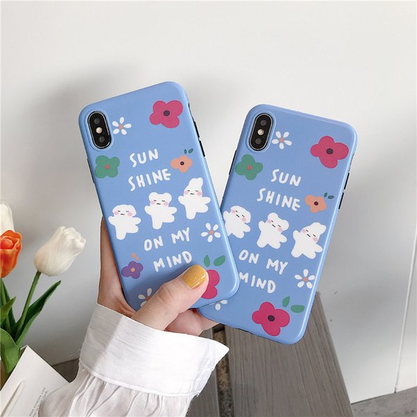 Soft Silicone TPU Phone Case Fashion Ins Style Three Bear And Flowers Pattern For IPhone 8 7 6 Plus X XS MAX Xr Cellphones Great Gifts
