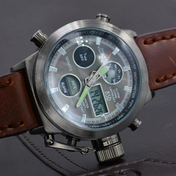 ead841fdc72 Nova Moda Led Relógio Analógico Digital Homens Esporte Relógios Pulseira De  Couro Genuíno Dos Homens Relógios