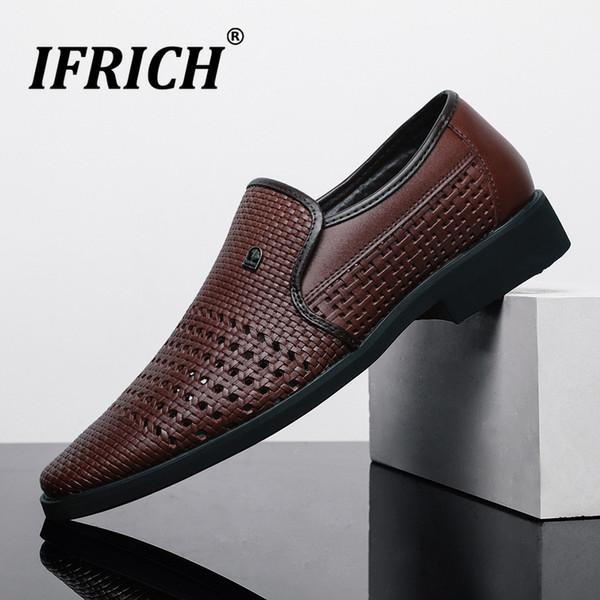 Летние Мужчины Офисная Обувь Полые Дышащие Мужские Бизнес Платье Обувь Дизайнер Партии Формальный Черный Коричневый Плюс Размер Мужчины