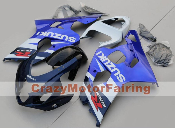 Alta calidad Nueva motocicleta ABS Carenados aptos para Suzuki GSXR600 750 600 750 K4 2004 2005 04 05 Carenado conjunto personalizado azul blanco fresco