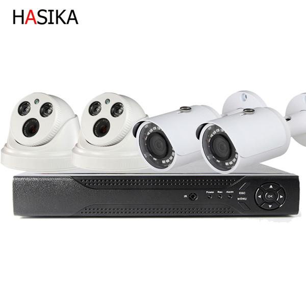 4 Ch POE kitleri, 4 Kanal NVR ve 2 Dome ve Bullet POE Kamera HD IP PoE IR Gece Görüşlü LED'lerle Kapalı 3.6mm Sabit Lensli Kameralar Ev CCTV