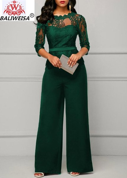 Casual Long Sleeve Jumpsuit Women Sexy Lace Patchwork Off Shoulder See Through Solid Overalls Elegant Office Lady Female Body