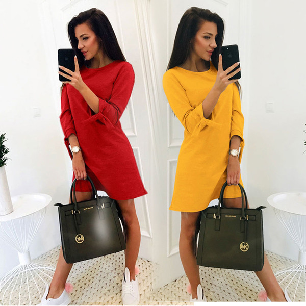 2019 New Spring Ladies Solid Color Casual Dress O-neck 3/4 Sleeve Bow OL Dress Party Mini Dress Multi Size
