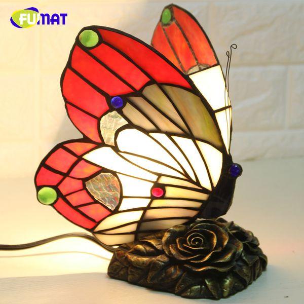 FUMAT Borboleta Night Light Tiffany Borboleta Luzes De Vidro Para Sala de estar Lâmpadas de Cabeceira Casa Deco Quente Lâmpadas de Noite de Enfermagem