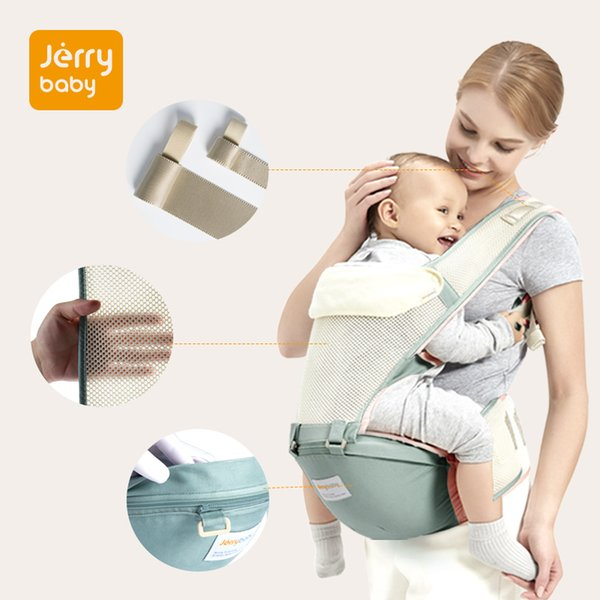 Jerrybaby Baby Carrier Breathable Ergonomic Infant Carrier Front Facing Kangaroo Baby Wrap Sling Waist Stool 0-36 Months