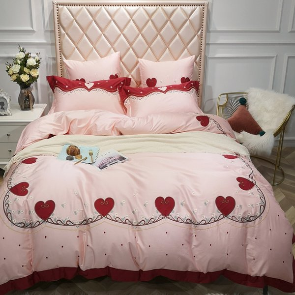 Popular Embroidery Quilt Cover Heart-shaped Pink Princess Bedding Set Pure Cotton 4pcs Free Shipping Hot Girls Favorite BedSheet