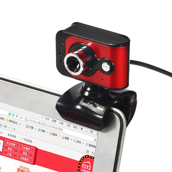 20 Maga Pixels USB 2.0 High Definition Webcam Camera 3 LED WebCam Built-in MIC Microphone Adjust Focus Red