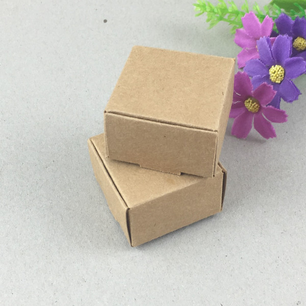 200pcs/lot 4*4*2.5cm Aircraft Brown Gift Kraft Paper Box For Jewelry\Wedding\Candy\Craft\Cake\Handmade Soap Packing boxes free shipping
