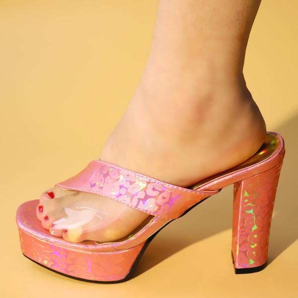2019 nova rosa cor africano sapatos de casamento aberto dedo do pé senhoras sandálias sapatos de festa de casamento sapatos de couro pu