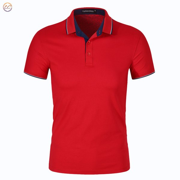 Summer Mens Polo Shirts Cotton Blue Solid Color For Man's Slim Fit Short Sleeve Clothes Male Wear Brand Clothing New Tops 445