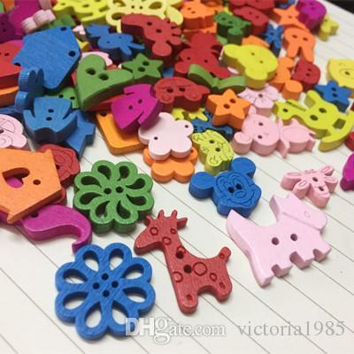 New small cartoon colorful wooden Buttons for crafts DIY star animal letter sewing supply scrapbooking accessories decorativos mixed color