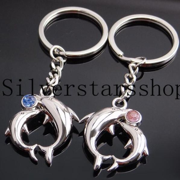 Dot perforazione Dolphin Coppia portachiavi auto creativo portachiavi valore coppia metallo portachiavi squisita piccolo regalo