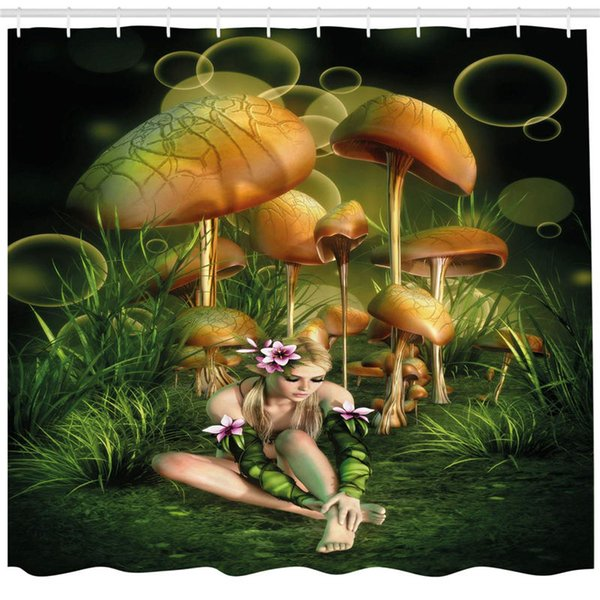 Mushroom Shower Curtain by, Fairy Woman in Enchanted Forest Elf Pixie Fungus Growth Flowers Grass, Fabric Bathroom Decor Set with Hooks