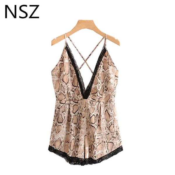 NSZ Donna Animal Print Snake Playsuit Patchwork Pizzo Body Sexy Cross Strappy Backless Summer Romper Tuta
