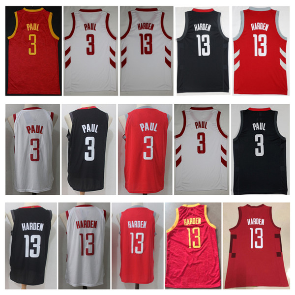 more photos 0e7b1 84907 2019 2019 New Mens City 3# Chris Paul Shirt 13# James Harden Jersey New  Material Harden Red White Black Embroidery Stitching Basketball Jerseys  From ...