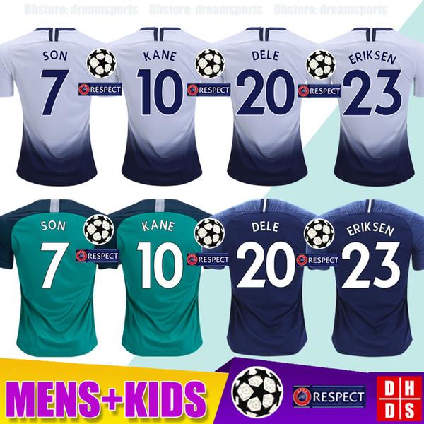 7cabfdcb7c2 Top thailand quality KANE spurs Soccer Jersey 2018 2019 LUCAS ERIKSEN DELE  SON jersey 18 19 Football kit shirt Men and KIDS KIT SET uniform