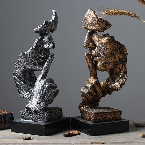 Scultura astratta Figurine Ornamenti Silence Is Gold Office Home Decoration Accessori Arte moderna Decorazione in resina Artigianato