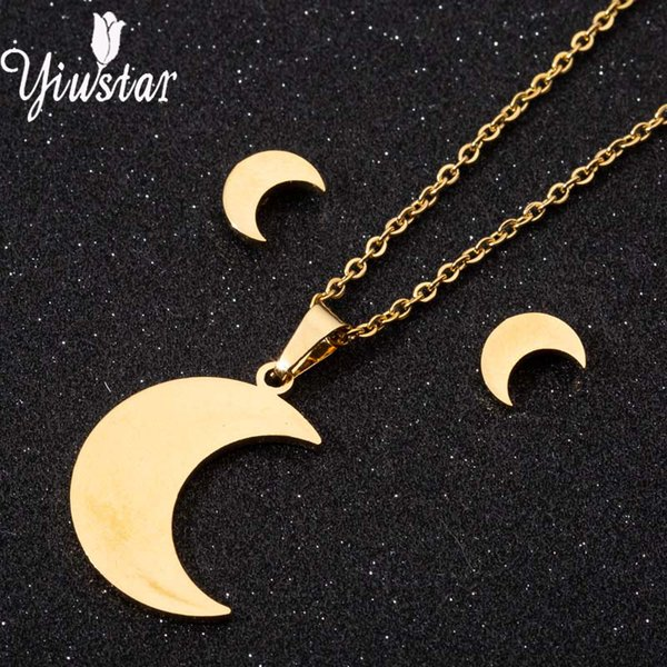 Yiustar Jewelry Sets Stainless Steel Moon Necklace Earring Sets For Women Girl Personalized Sexy Choker Classmate Party Keepsake