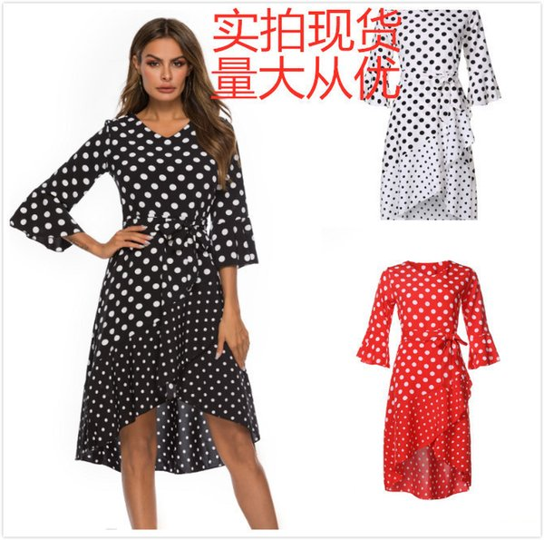 Hot Summer Sale Explosive Money Europe And America Circular Spot Splicing Lotus Leaf Edge V Collar Dress