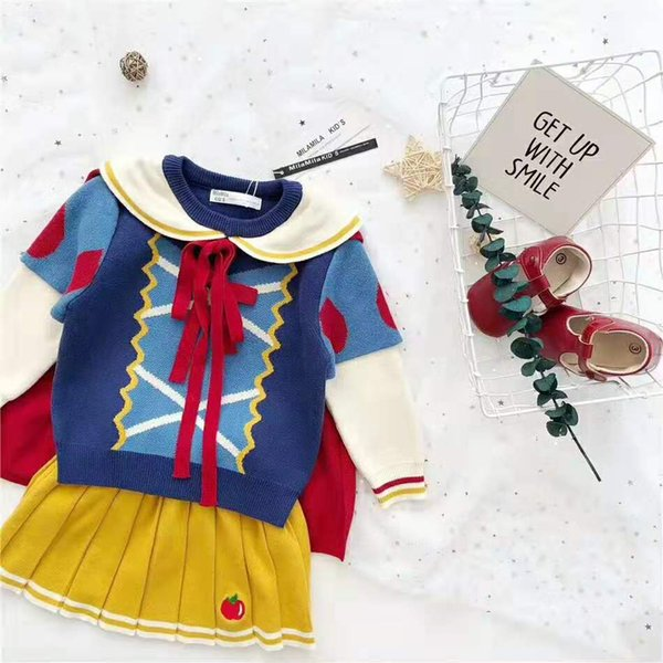 Girls snow white outfits INS kids stripe lapel patchwork color sweater+knitted pleated skirt+lace-up Bows capes 3pcs sets F9797