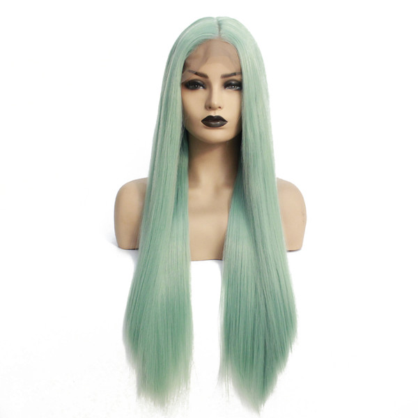 Hot Sexy Long Straight Realistic Looking Mint Green Wig Heat Resistant Fiber Synthetic Lace Front Wig for black women Halloween Cosplay Wigs