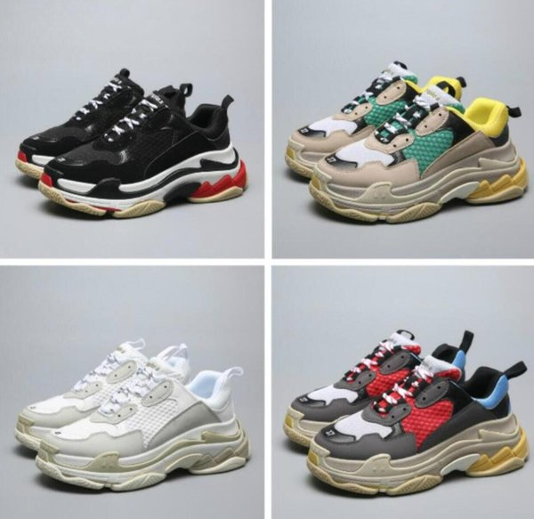 Men Women wholesal comfo Triple With box Mens and Womens Casual Shoes Triple S Silver Suede White Yellow Green Brand Designer Trainers 35-45