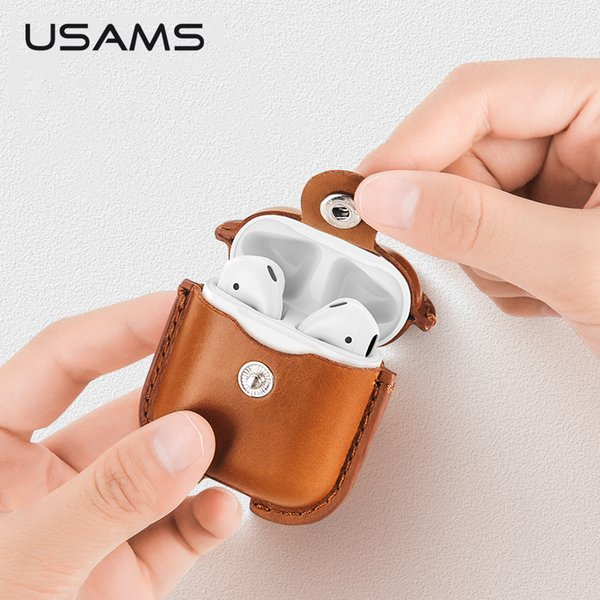 Genuine Leather Case For Apple Airpods Earphone Protective Cover For Air Pods Wireless Bluetooth Earphone Accessories Case T190628