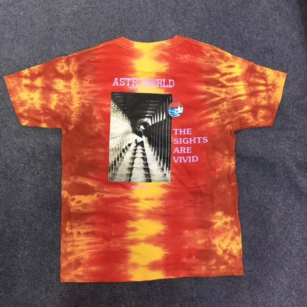 2019ss new top ASTROWORLD TRAVIS SCOTT t-shirts Travis Scott kanye west Festival Run Tie Dye Tee Men Women kanye west Summer Style