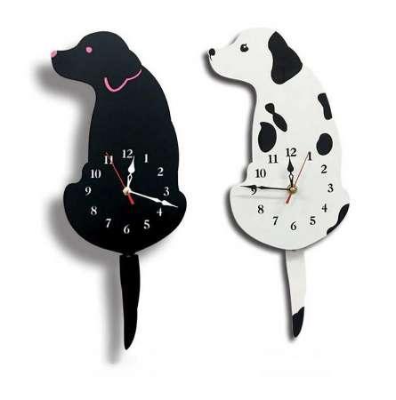 Cartoon Acrylic Wag Tail Dog Innovative Wall Clock For Living Room As Gifts