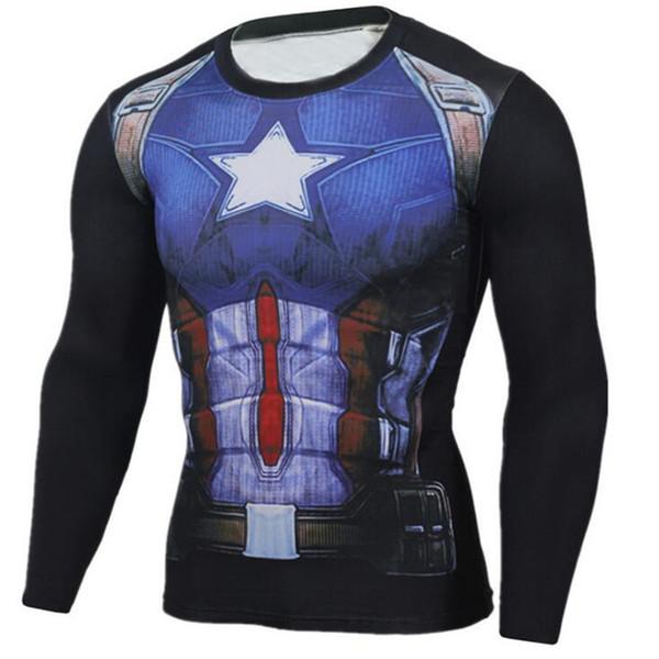 Mens Compression Shirts Teen 3D Loup Maillots manches longues T-shirt Fitness Hommes Lycra MMA Crossfit T-shirts Collants Marque Vêtements C-15